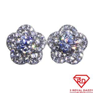 Five Petal Flower with white CZ stud Earrings gold
